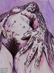 A roman goddess as viewed by humans erotic watercolor and ink