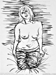 Amanda Removing Her Jeans figure sketch figure drawing pen and ink