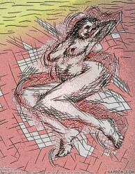 Untitled Sizzle 12142013 Erotic art digital remix of pen and ink nude figure sketch by Aarron Laidig