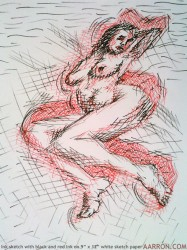 ink sketch of moving female nude