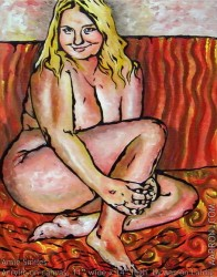 Amie Smiles figurative nude painting by contemporary artist Aarron Laidig