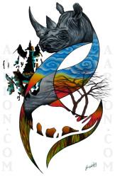 Black Rhino Artwork done Aarron Style
