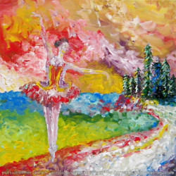 pursuit of her dream ballet art in acrylic on canvas painting