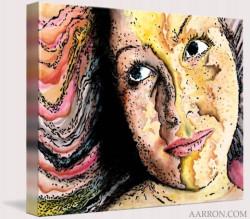 Rainbow World Girl Art On Canvas