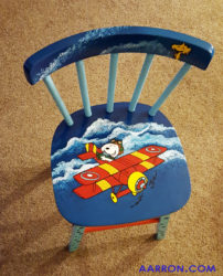 snoopy painted wooden chair