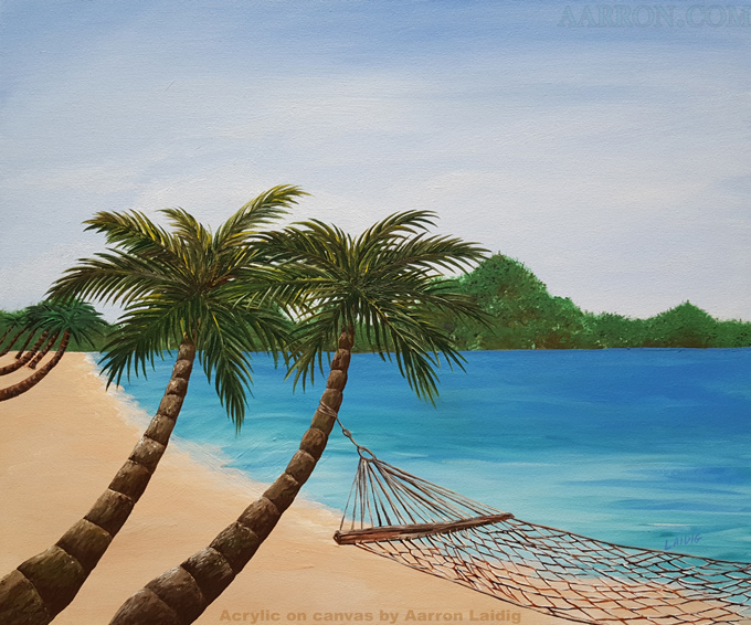 Sandy beach and palm trees painting by Aarron Laidig