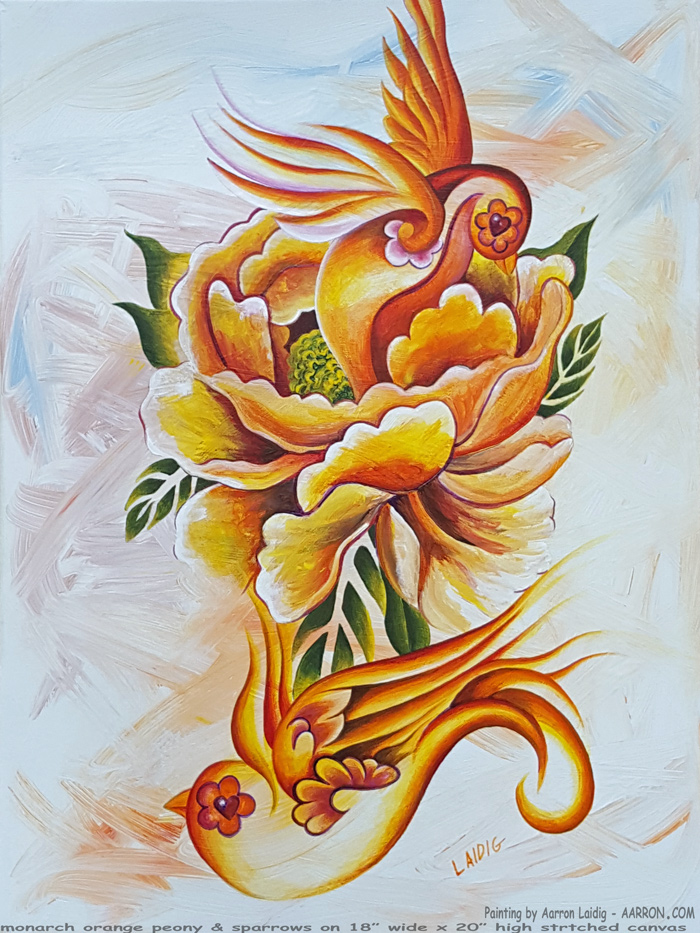 Orange Peony And Sparrows
