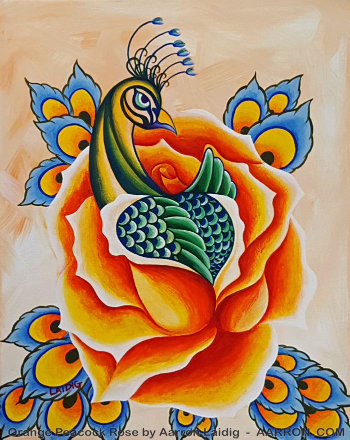 Peacock with orange rose art by Aarron Laidig