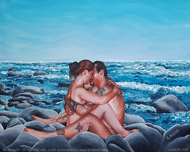 On The Rocks Lovers Painting