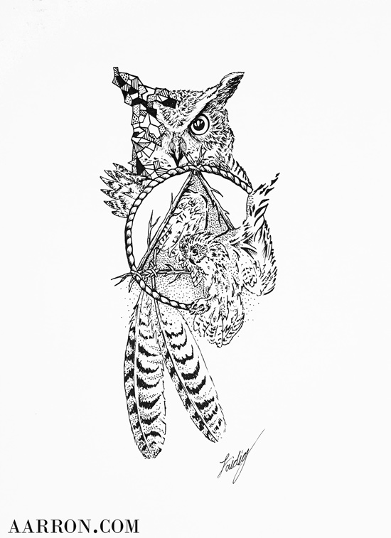 Owl Totem Drawing By Aarron Laidig