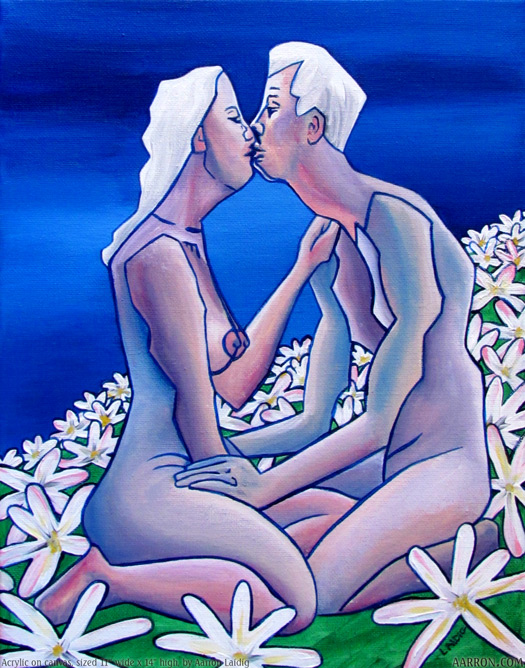In The daisies cute pop cubism painting