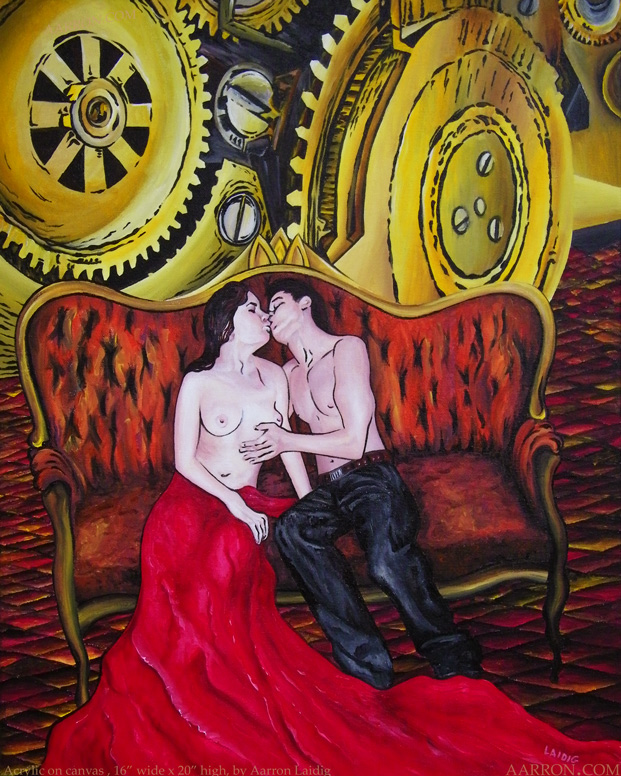 The Time She Wore Red surrealism contemporary painting by aarron Laidig
