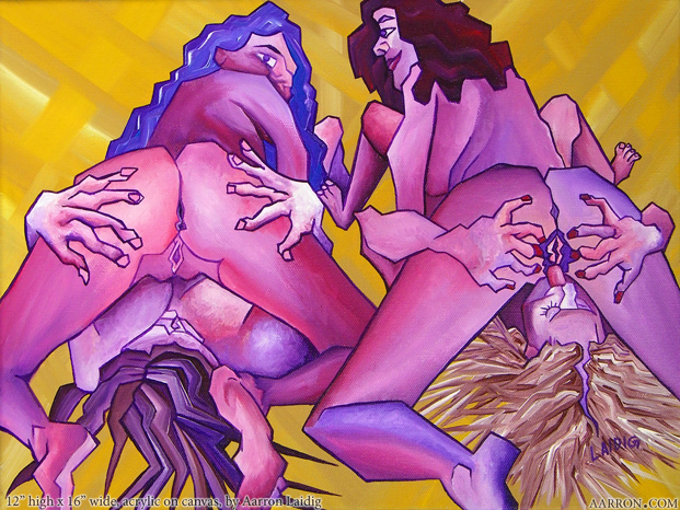 Taco Party erotic group lesbian themed original fine art painting in pop cubist style