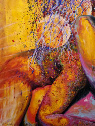 Impetus and Repose semi abstract erotic painting by aarron Laidig from the two moons series of paintings